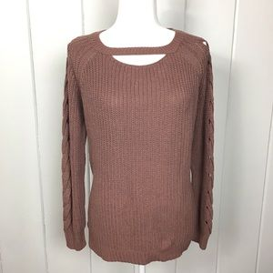 Altar'd State Rose Brown Crew Neck Knit Sweater S